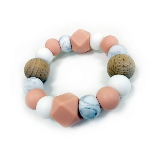 One.Chew.Three Textured Silicone Teethers - Peach Marble Scatter