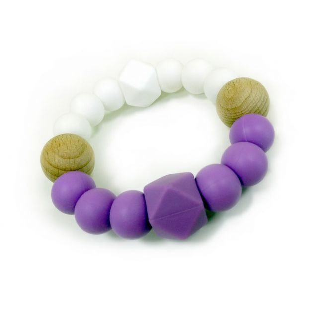 One.Chew.Three Textured Silicone Teethers - Purple/White