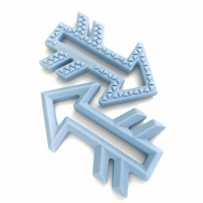 One.Chew.Three Arrow Silicone Teether - Blue