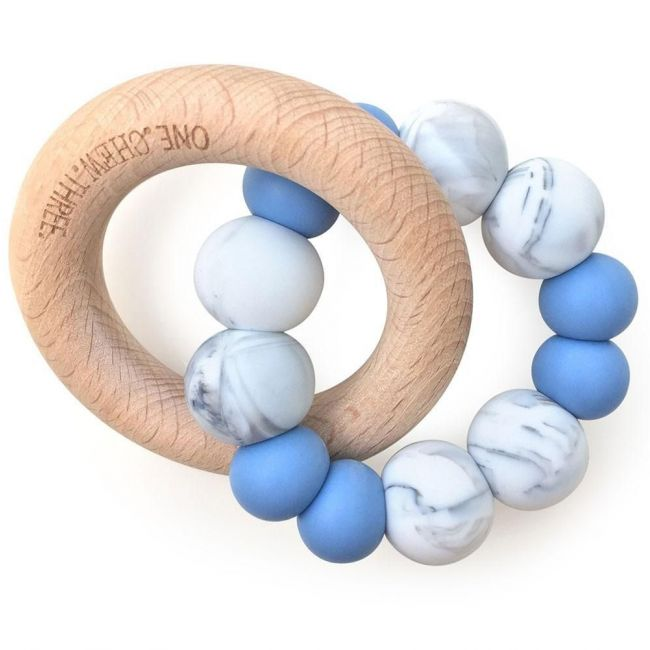 One.Chew.Three Duo Teether - Blue Marble