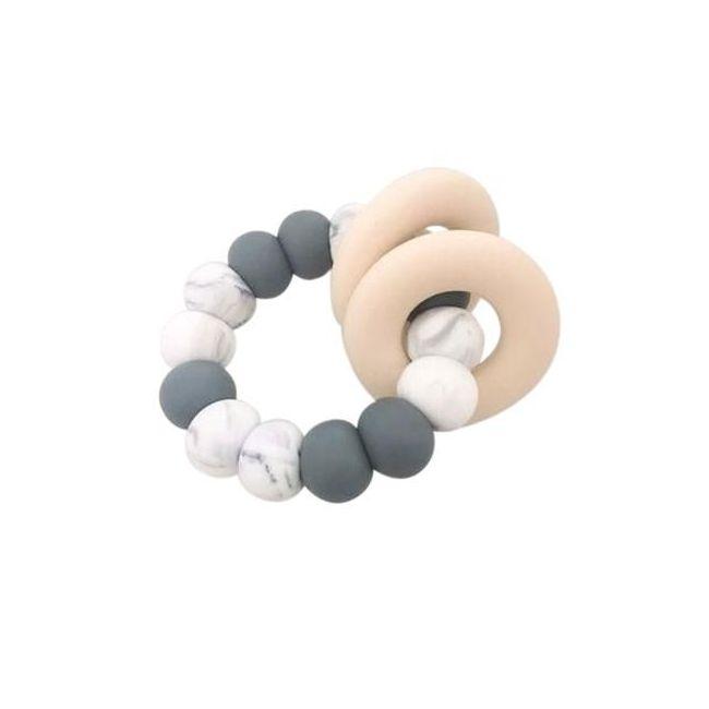 One.Chew.Three Gummi Silicone Teether - Grey Marble
