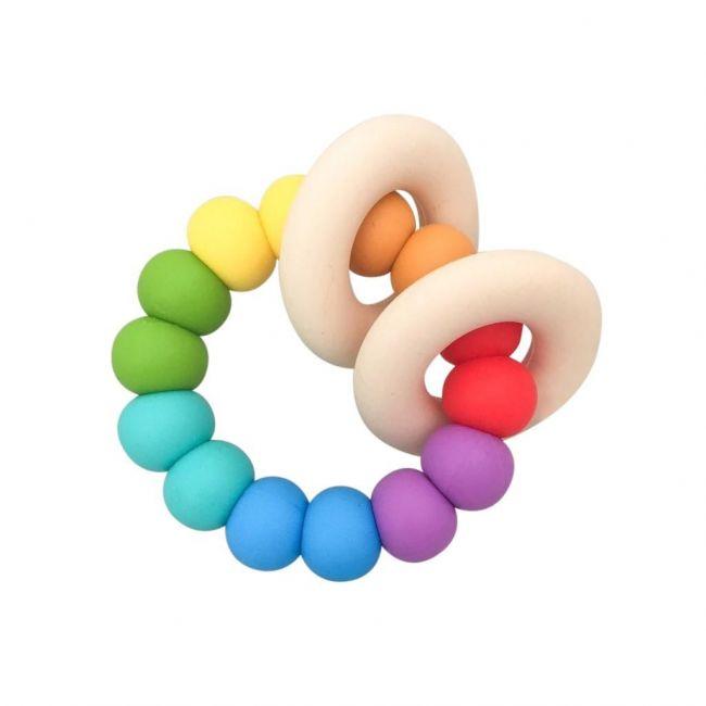 One.Chew.Three Gummi Silicone Teether - Rainbow Bright