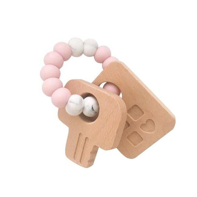 One.Chew.Three Keys Teether - Pink