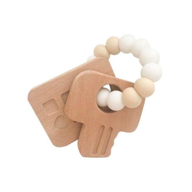 One.Chew.Three Keys Teether - White