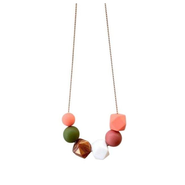 One.Chew.Three Lexi Necklace - Coral