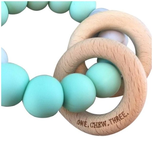 One.Chew.Three Rattle Duo Teether - Mint Marble