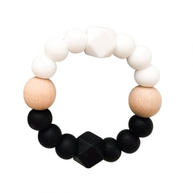 One.Chew.Three Textured Silicone Teethers - Black/White