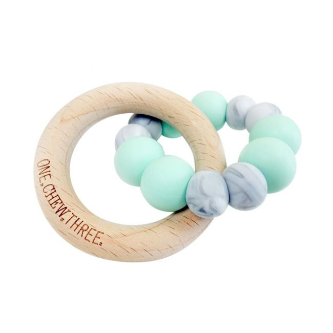 One.Chew.Three Duo Teether - Mint Marble