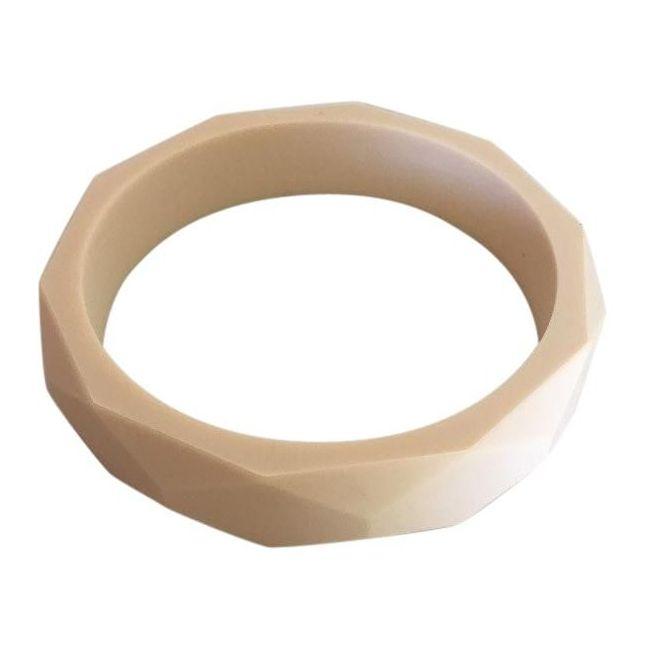 One.Chew.Three Geo Teething Bangle - Cream