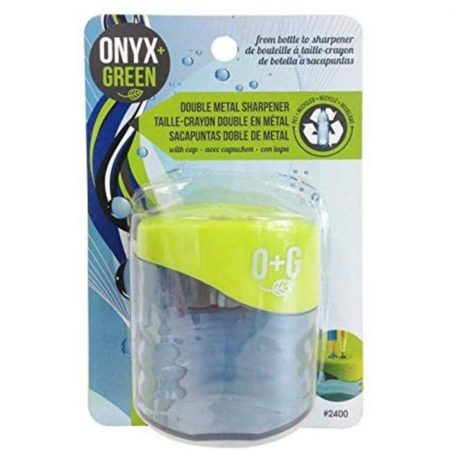 Onyx and Green Recycled PET & Metal Double Pencil Sharpener with reservoir
