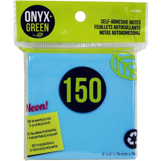 Onyx and Green Recycled Paper, Neon Colors 150-Pack Self-Adhesive Notes - 3 Pads/50 Sheets