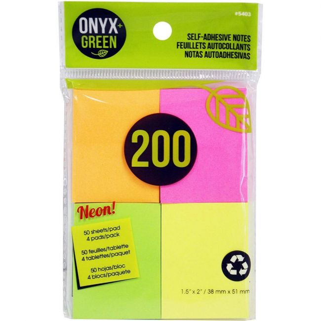 Onyx and Green 200 pack, neon colors, Self Adhesive, 1.5'x2'' recycled paper sticky notes.