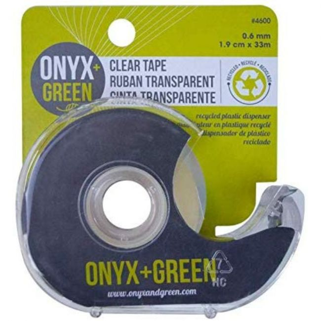 Onyx and Green Clear Tape, with Dispenser - 1.9cm x 33m