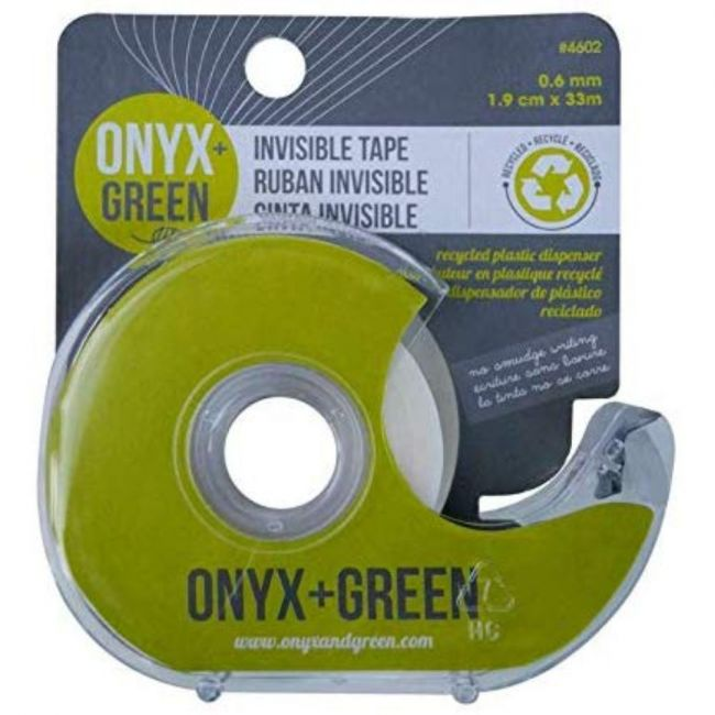 Onyx and Green Invisible Tape made with Recycled Plastic with Dispenser - 1.9cm x 33m