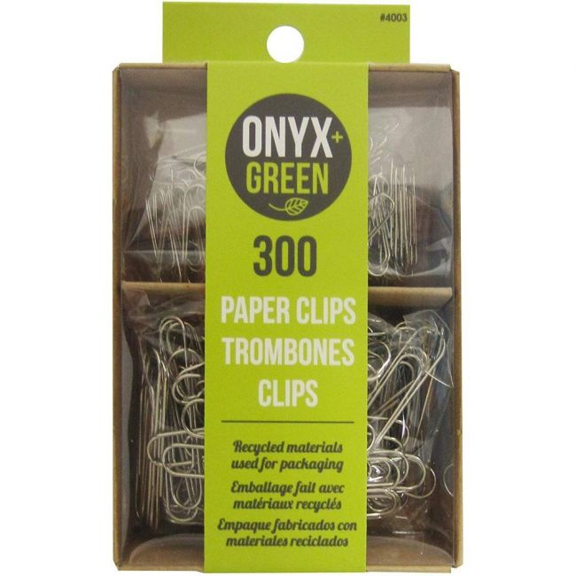 Onyx and Green Recycled Metal Paper Clips - 300 pack