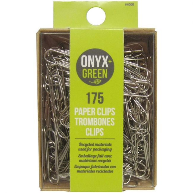 Onyx and Green Recycled Metal Paper Clips (28mm) - 175 pack