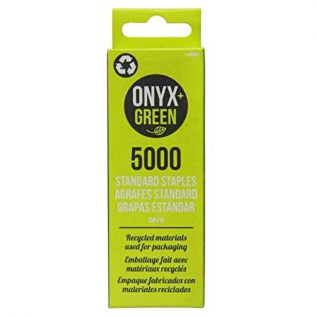 Onyx and Green 26/6 Recycled Packaging Standard Staples - 5000 staples