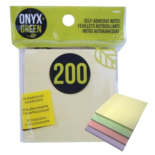 """Onyx and Green Pastel Colours, 3""""x3"""" Recycled Paper Sticky Notes - 200 pack"""