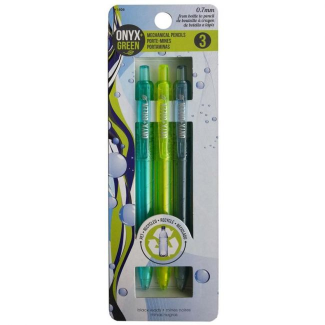 Onyx and Green Recycled Pet Mechanical Pencils - 3-Pack