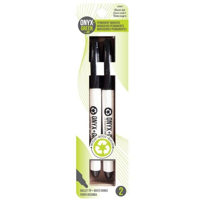 Onyx and Green Recycled Plastic Permanent Markers - Black 2-Pack