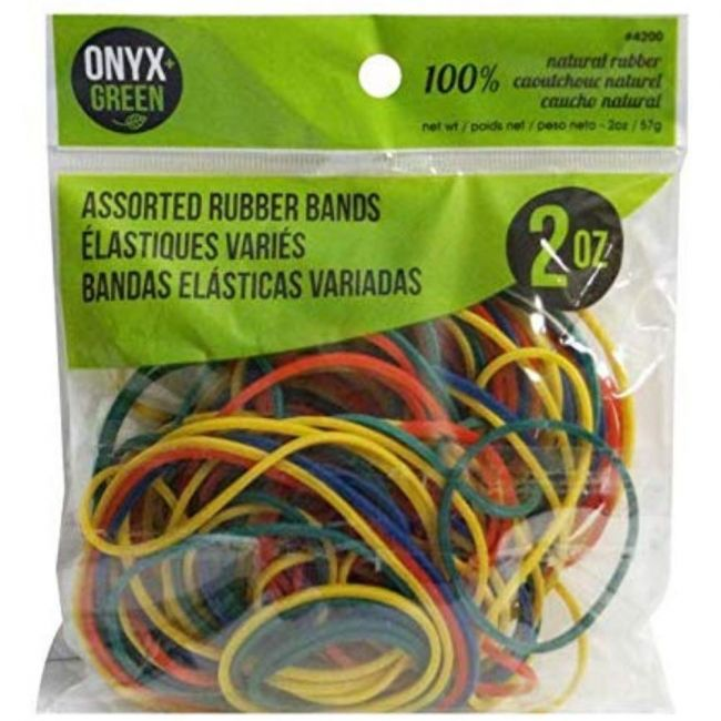 Onyx and Green Assorted Colours & Sizes Rubber Bands - 2oz