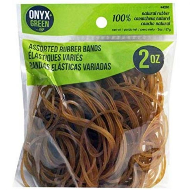 Onyx and Green Assorted Sizes Rubber Bands - 2oz