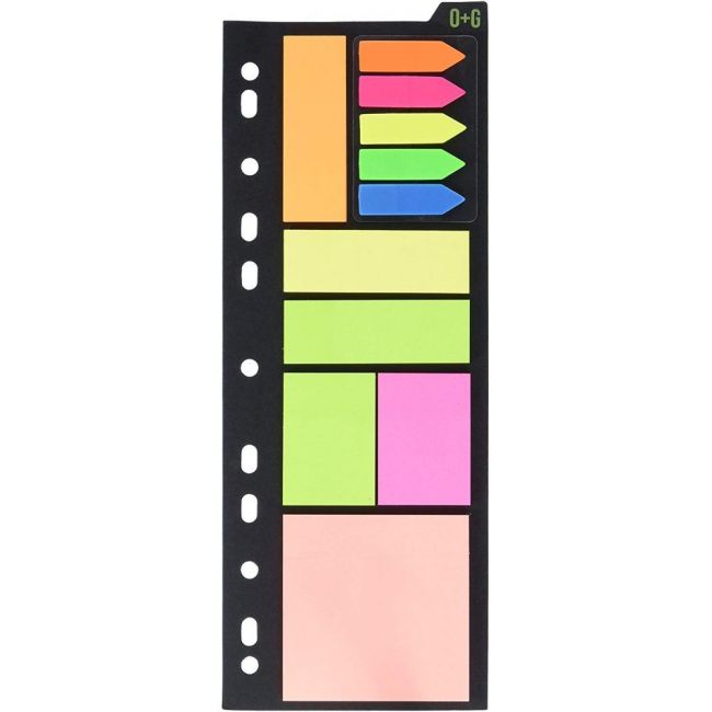 Onyx and Green 125 Arrow Strips Sticky Notes Binder Combo Pack - 150 Notes
