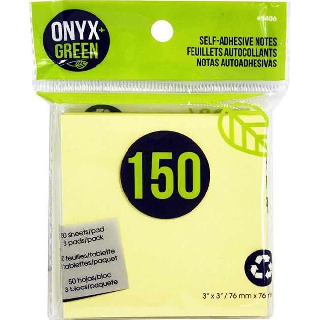"""Onyx and Green 3""""x3"""" Recycled Paper Sticky Notes - Yellow"""