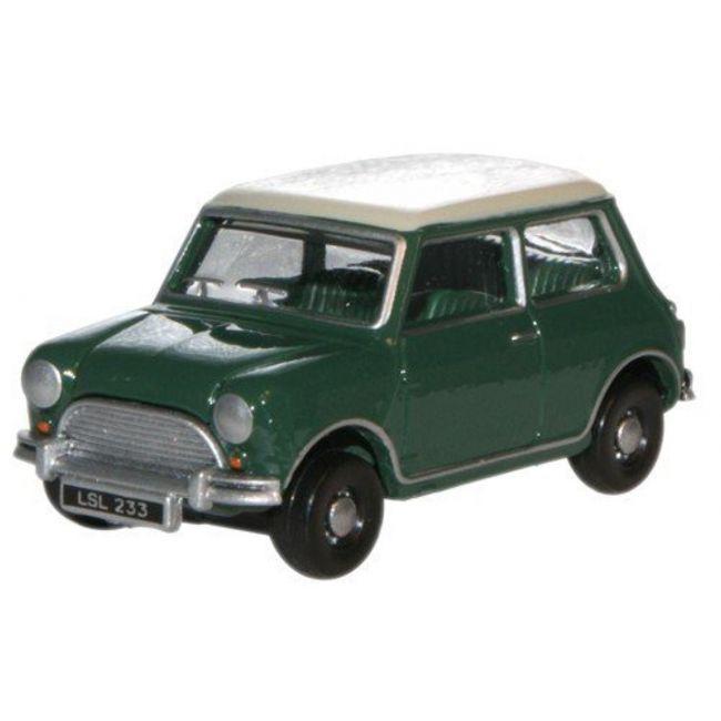 Oxford Diecast Almond Green/Old English White Austin Mini Toy Car