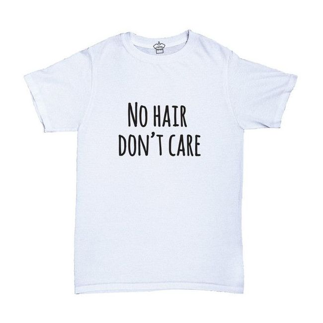 Cheeky Micky - T-shirt with Message : No Hair Don't Care Age: 1-2 years (White)