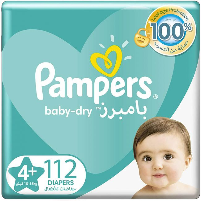 Pampers - Baby-Dry Diapers, Size 4+, Maxi+, 10-15 Kg, Giant Box - 112 Count