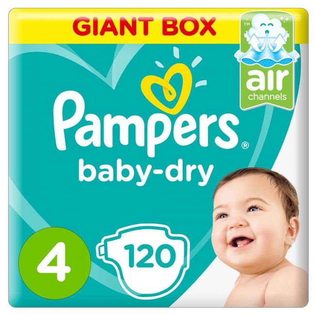 Pampers - Baby-Dry Diapers, Size 4, Maxi, 9-14kg, Giant Box - 120 Count