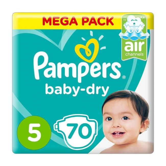 Pampers - Baby-Dry Diapers, Size 5, Junior, 11-15 Kg, Mega Pack - 70 Pcs