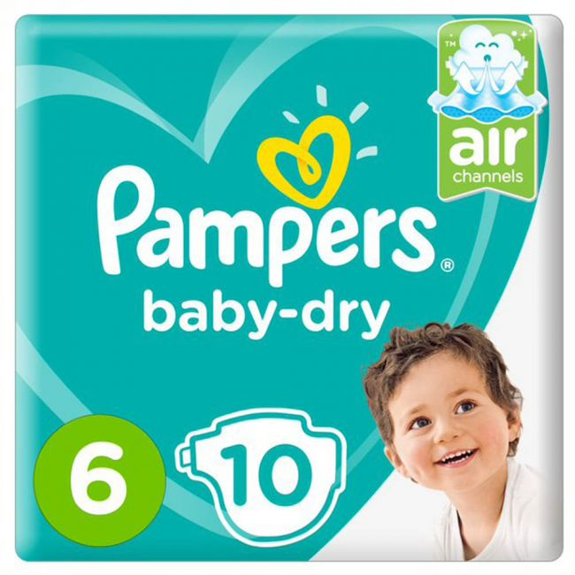 Pampers - Baby-Dry Diapers, Size 6, Extra Large, 13+ Kg, Carry Pack - 10 Count