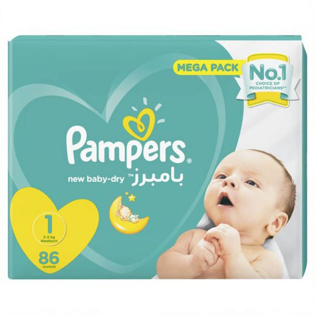 Pampers - New Baby-Dry Diapers, Size 1, Newborn, 2-5 Kg, Mega Pack - 86 Count