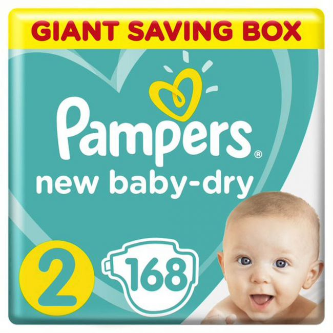Pampers - New Baby-Dry Diapers, Size 2, Mini, 3-8 Kg, Giant Box - 168 Count