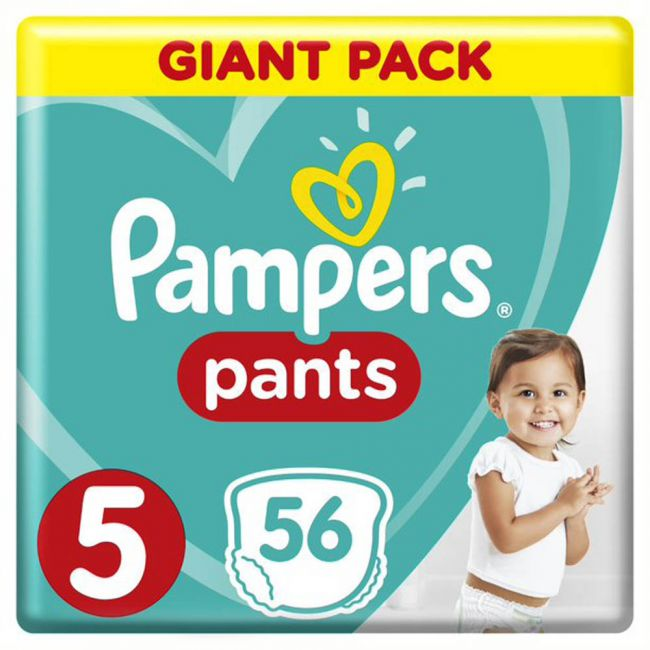 Pampers - Pants Diapers, Size 5, Junior, 12-18 Kg, Giant Pack - 56 Count