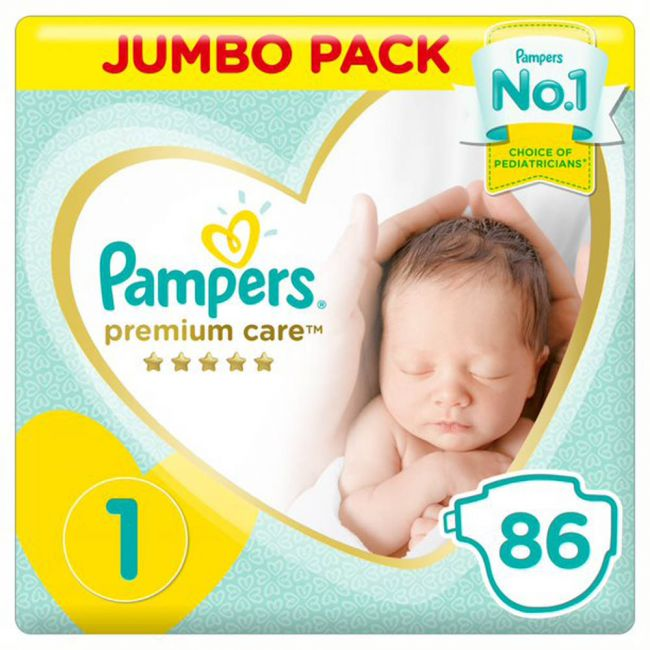 Pampers - Premium Care Diapers, Size 1, Newborn, 2-5 Kg, Jumbo Pack - 86 Count