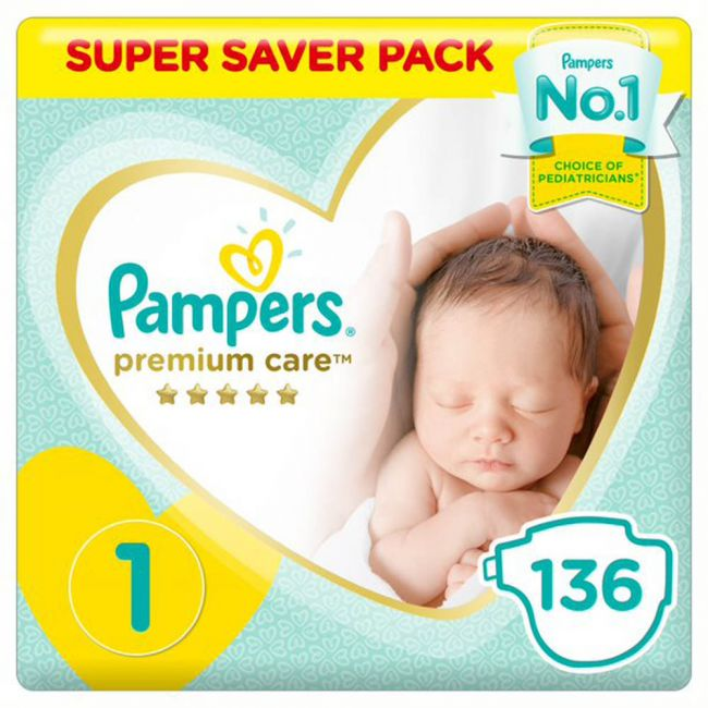 Pampers - Premium Care Diapers, Size 1, Newborn, 2-5 Kg, Super Saver Pack - 136 Count