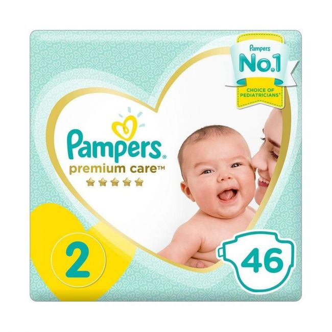 Pampers - Premium Care Diapers, Size 2, Mini, 3-8 Kg, Mid Pack - 46 Pcs