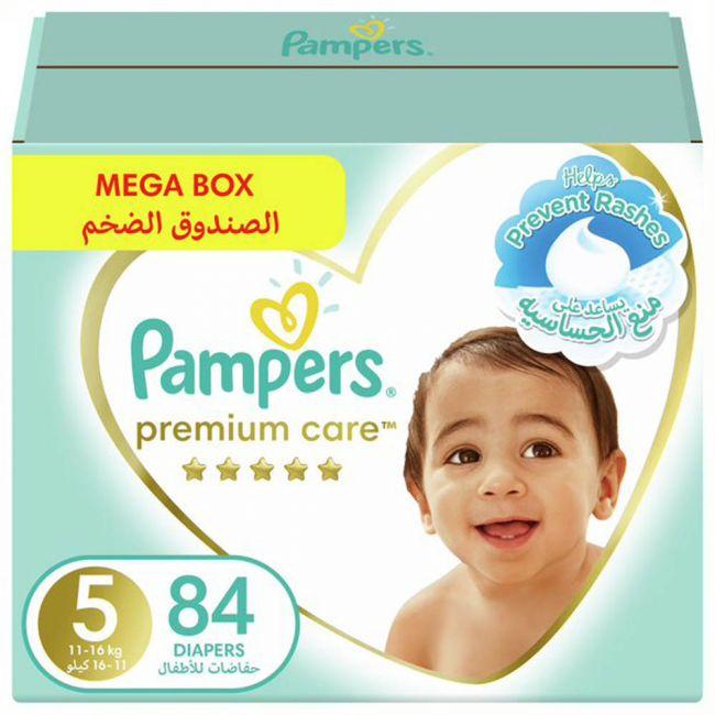Pampers - Premium Care Diapers, Size 5 Junior, 11-16 Kg, Mega Box - 84 Count
