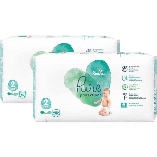 Pampers - Pure Protection Diapers, Size 2, 4-8 Kg - 78 Count Pack Of 2 Pieces