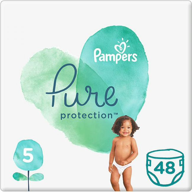 Pampers - Pure Protection Diapers, Size 5, +11 Kg - 48 Count Pack Of 2 Pieces