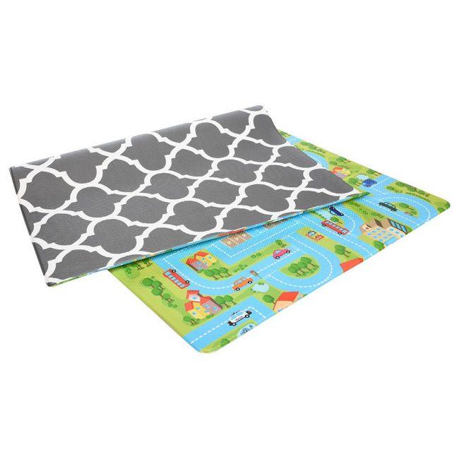 Bumpa Mats Beige Honeycomb - blue Track, Baby playmat