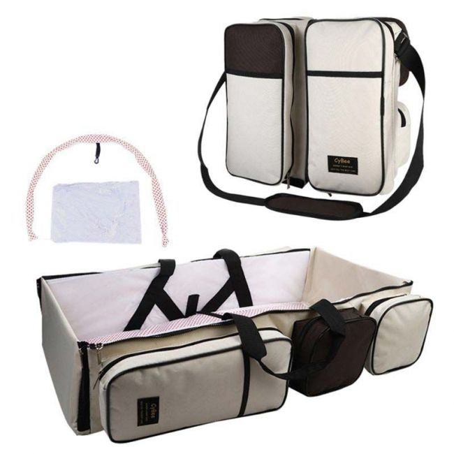 Cybee - 9 in 1 Mummy Bag & Baby Travel Bed & Diaper Bag - Half White