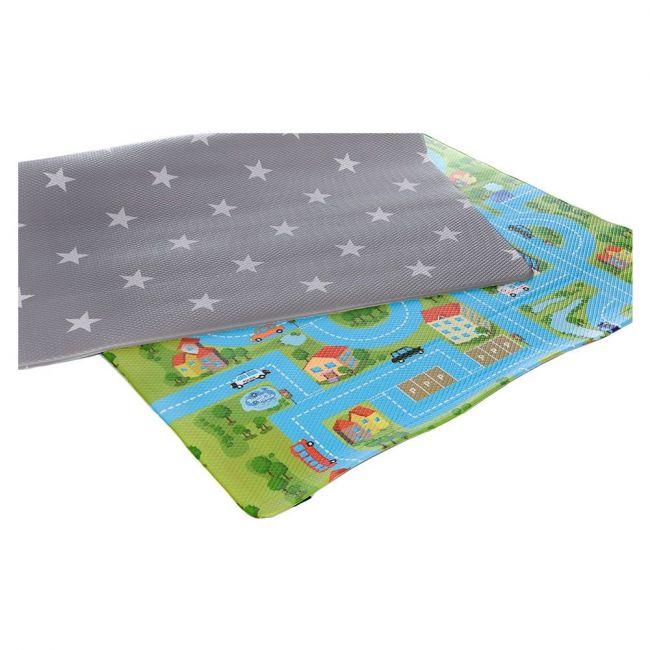 Bumpa Mats Grey Stars - Blue Track, Baby playmat