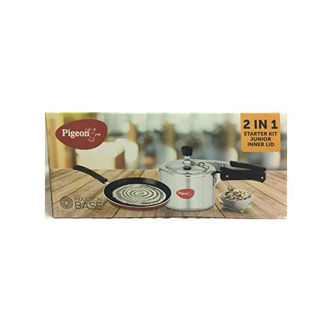 Pigeon - 2 In 1 Starter Kit Pressure Cooker And Flat Tawa Silver Black 87