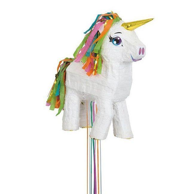 Unique - White Unicorn 3D Pull Pinata