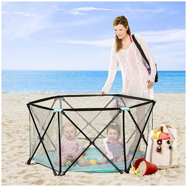 Regalo - My Play Portable Play Yard Indoor And Outdoor Bonus Kit Aqua