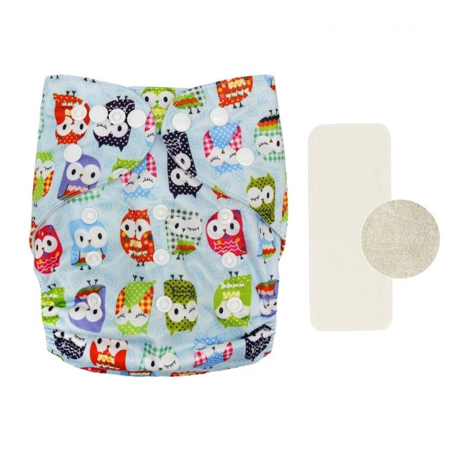 AL Kidz - Reusable Diaper With Insert Pad Pocket - Owl Design